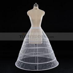 5 Hoop Ball Gown White Nylon Bridal Petticoat