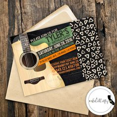 Rock And Roll // Guitar // Acustic Guitar // Concert Ticket // Concert Poster // Music Birthday Party Invitation by SoCalCrafty on Etsy. Printed or Printable. $16+