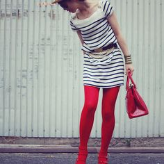 Red tights and stripes