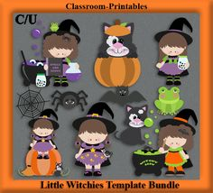 Clipart Templates for Scrapbooking.    Little Witchies Clipart Template Bundle. For Digital Scrapbooking, Clipart, Creating Cards & Printables.    Comes PSD Format  For Use in Photoshop and Graphics Programs