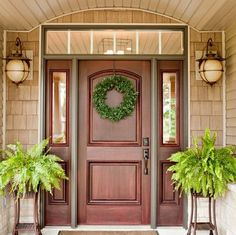08 red wood front door with sidelights - Shelterness