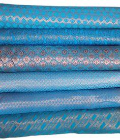 Bundle of peacock blue indian silk brocade -set of 6 fat quarters