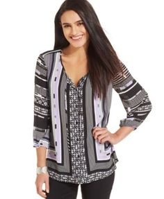 Style&co. Mixed-Print Peasant Blouse