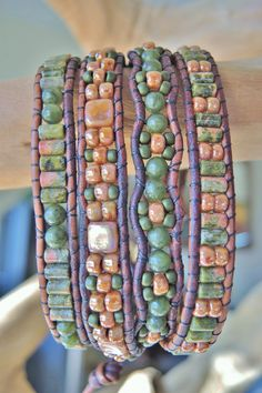 UNAKITE & JADE 4 Wrap Leather Bracelet featuring RoseGold CzechMates and Picasso Seed Beads
