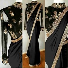 Checkout this black embroidered saree available for only 1700 INR To buy WhatsApp : +91 9054562754