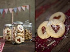 Like this idea of cookies & jars -- maybe should mix with dessert bar? beautiful heart shaped cookies - would make fab wedding favours or Velentine's pressie (diy cookie cutter jar gifts) Christmas Treats, Christmas Baking, Diy Christmas, Christmas Cookies, Christmas Biscuits, Christmas Presents, Yummy Treats, Sweet Treats, Yummy Food