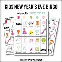 Printable New Year's Eve BINGO Sheets for Kids - 6 variations to print and use for New Year's Eve!