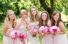 bridesmaids dresses pink bouquet