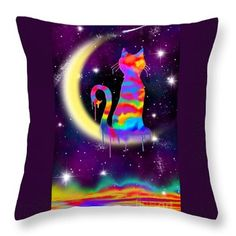 Painted Moon Cat Throw Pillow by Nick Gustafson