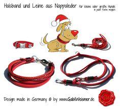Halsband und Leine aus Nappaleder für kleine oder große Hunde in jeder Farbe möglich