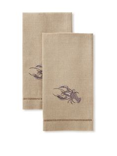 Henry Handwork Set of 2 Lobster Hand Embroidered Towels.