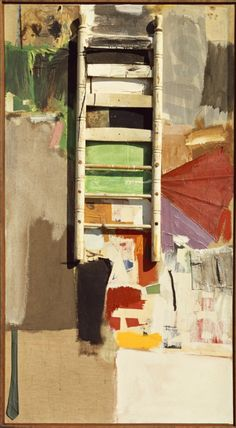 Robert Rauschenberg (American, 1925-2008), Octave, 1960. Oil on canvas with assemblage (oil, paper, fabric), 196.9 x 107.3 cm.