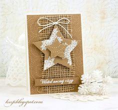 Klaudia / Kszp: Kraftowo, fast and very eco :) Simple Christmas Cards, Christmas Card Crafts, Homemade Christmas Cards, Xmas Cards, Homemade Cards, Handmade Christmas, Holiday Cards, Christmas Decorations, Theme Noel