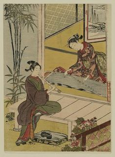 Suzuki Harunobu: Couple Playing a Duet on Koto and Shakuhachi - Museum of Fine Arts