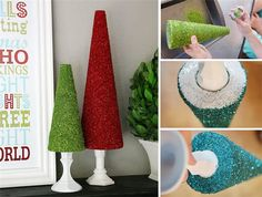 The cones are easy to make. Stop at any dollar store and get spray adhesive, the cones & glitter. Place them on candle holders for height. A very inexpensive crafty project that would be great for kids.