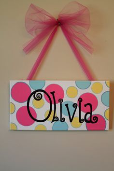 Hand Painted Name on Canvas Olivia by AddiCakesNoBakes on Etsy, $25.00