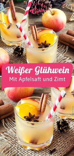Recipe: White mulled wine with apple and cinnamon - Weihnachtliche Rezepte , Claudia S, Christmas Appetizers, Christmas Recipes, Winter Cocktails, Mulled Wine, Pumpkin Spice Cupcakes, Fall Desserts, Easy Snacks, Cream Recipes