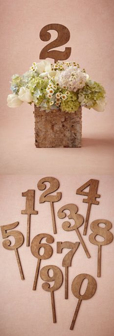 Rustic table numbers. love! http://www.styleyoursoiree.com/#!table-numbers/clif