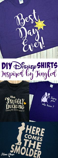 DIY Disney Shirts Inspired by Tangled Movie! Find more great Disney DIY ideas on MamaCheaps.com.