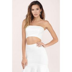 Tobi Anything Goes Strapless Crop Top ($32) ❤ liked on Polyvore featuring tops, ivory, strapless top, ivory crop top, strapless bustier top, cut-out tops and crop bustier