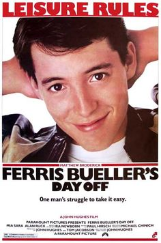 Leisure Rules! A great poster from the classic John Hughes movie Ferris Bueller's Day Off starring Matthew Broderick! Ships fast. 11x17 inches. Check out the rest of our awesome selection of John Hugh