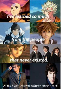 Aang, Korra, Sora, Link, Ron, Harry, Hermione, 10, and Sherlock are definitely all relevant to me.
