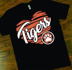 School Spirit Tigers Tee, Tigers Heart with Paw Glitter Tee, School Mascot Tee, Custom Mom Glitter School Pride T-Shirt School Spirit Wear, School Spirit Shirts, School Shirts, Teacher Shirts, Cheer Shirts, Pride Shirts, Vinyl Shirts, Tiger T-shirt, Tiger Moms