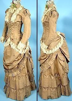 c. 1882 Cocoa Colored Silk Wedding Gown