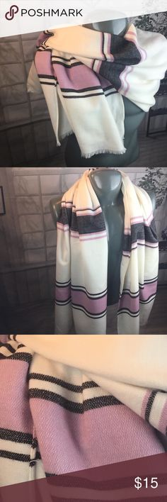 Lon scarf/wrap - Old Navy Beige scarf with pink and black striped detailing. Excellent condition. Old Navy Accessories Scarves & Wraps