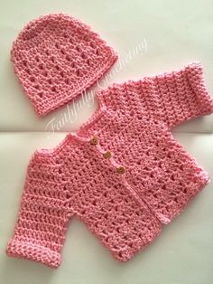 Newborn sweater.. Beanie.. Pink long by FaithfullyCrocheting