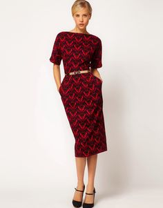 Image 4 of ASOS Wiggle Dress In Colored Wallpaper Print