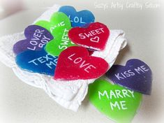 How to make your own homemade Valentine Conversation Hearts candies! Homemade Valentines, Valentine Day Crafts, Valentine Heart, Thanksgiving Crafts, Holiday Crafts, Conversation Hearts Candy, Little Snowflake, Converse With Heart, Heart Crafts