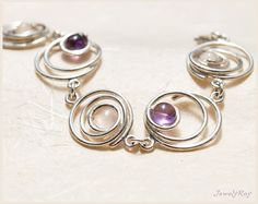 sterling silver links bracelet. amethyst & rose by JewelyRay, $105.00