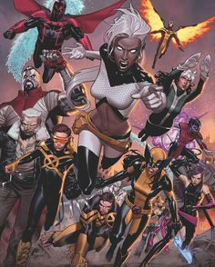 Variant cover of Extraordinary X-Men during Inhumans vs. X-Men, art by Jorge Molina Marvel Comics, Marvel Dc, Arte Dc Comics, Anime Comics, Marvel Heroes, Rogue Comics, Storm Marvel, Captain Marvel, Comic Book Characters