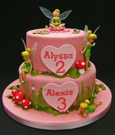 tinkerbell cake, like the woodland theme Tinkerbell Birthday Cakes, Fairy Birthday Cake, 1st Birthday Cake For Girls, Tinkerbell Party, Barbie Cake, Fairy Cakes, Character Cakes, Just Cakes, Halloween Cakes