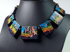 River Gums, polymer clay necklace by Wendy Jorre de St Jorre.