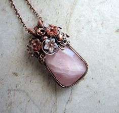 Wire Wrap Necklace, Unique Jewelry, Floral Bouquet Jewelry, Rose Quartz Necklace, Anniversary Gift for Wife, One of a Kind Jewelry