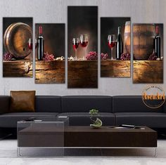 3 Piece Canvas Picture Modern Vins Red Wine Cup Wall Art Bar Dinning Room Decor