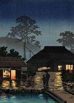 "Japanese Art Print ""Long Spell of Rain"" by Tsuchiya Koitsu. Shin Hanga and Art Reproductions http://www.amazon.com/dp/B00XVTPY58/ref=cm_sw_r_pi_dp_5dWvwb18D5GM8"