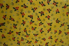 Christmas Village Holly Berries (Yellow background); sold by the yard