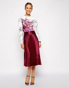 ASOS | ASOS Pleated Midi Skirt in Metallic at ASOS | Style: My ...