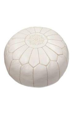 Rugs USA Poufs Moroccan Ottoman White