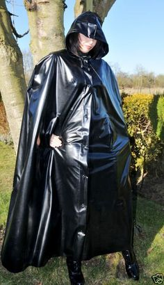 Long hooded glossy black cape