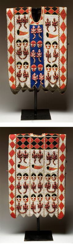 Africa | Tunic from the Yoruba people of Nigeria | Glass beads, cowrie shells and linen lining | ca. 2nd half of the 20th century