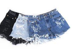 LEVI'S Shorts Denim Cutoff Tattered Blue 1970s Distressed Highwaist High Cut Jean Shorts
