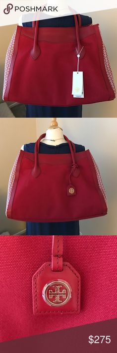 "Tory Burch Canvas + Leather Tote NWT Large, gorgeous red canvas and leather combo. Sides have a red/ cream woven pattern. Completely new with tags. Approx 12.5"" high x 15"" wide. Tory Burch Bags Totes"
