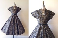 1950s Mexican Dress  50s Vintage Dress  Black Gold by jumblelaya