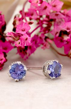 Oh my. Tanzanite, you are truly beautiful. Studs that are pure and clear. | 1.22ctw Round Tanzanite Solitaire Sterling Silver Stud Earrings