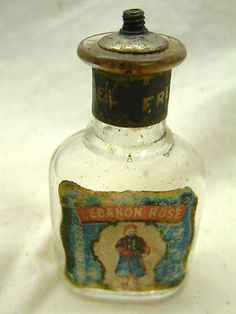 Pre-Civil War Small Perfume or Shaving Bottle, 'Lebanon' Zouave Soldier,1860