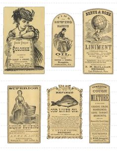 Digital Download Collage Sheet Vintage 1800's Pharmacy Apothecary Druggists Labels (106)